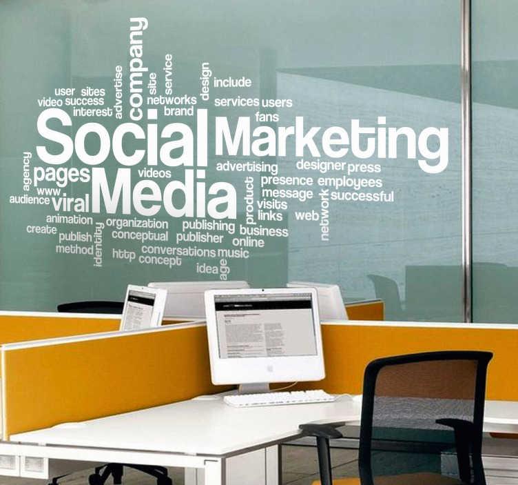 TenStickers. Autocolante decorativo nuvem de palavras Marketing. Autocolante decorativo ilustrando uma nuvem de palavras relacionadas com Marketing, publicidade, meios sociais, entre outros.