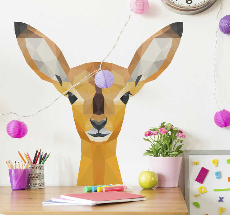 TenStickers. Deer wild animal sticker. Decorative wild animal wall striker design of a Deer. The design is created in a glassy geometry style. Very adhesive and easy to apply.