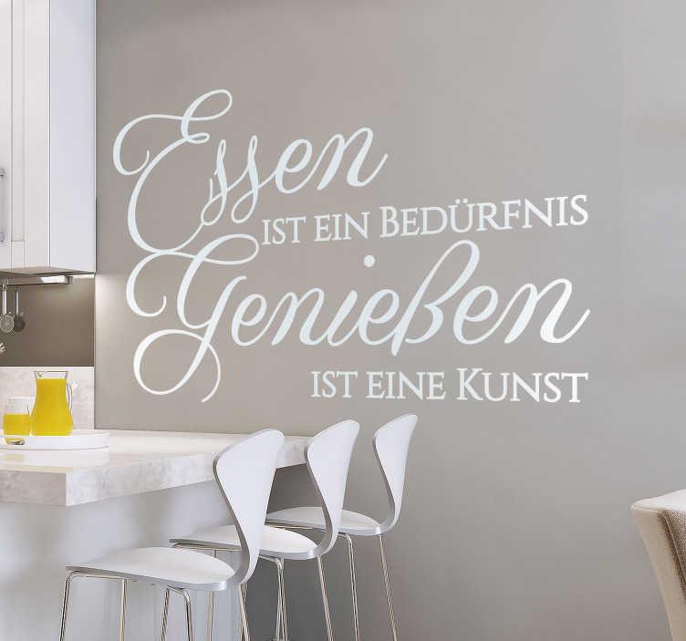 TenStickers. Essen ist ein Bedürfnis Wandtattoo. Dekorative küche wandtattoo mit küche text thema erstellt. Das design ist in verschiedenen farben und größen erhältlich, um die wand zu verschönern.