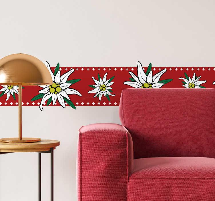 TENSTICKERS. エーデルワイス草原ボーダーデカール. 非常にカラフルなエーデルワイスの草原の花でデザインされたこの美しい壁ボーダーステッカーで壁面を飾ります。表面に非常に接着します。