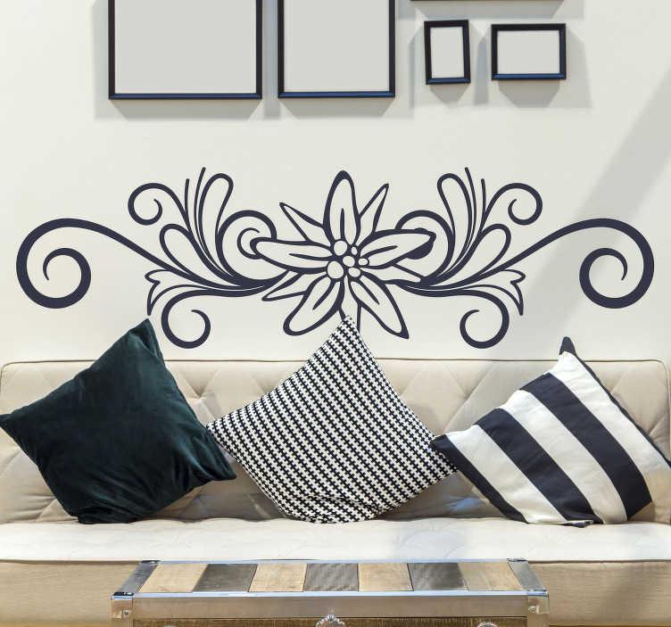 TenStickers. Edelweiß mit Schnörkel Wandtattoo. Dekorative florale wandtattoos in verschiedenen monofarben erhältlich, um jede flache oberfläche an der wand oder auf dem objekt zu dekorieren.