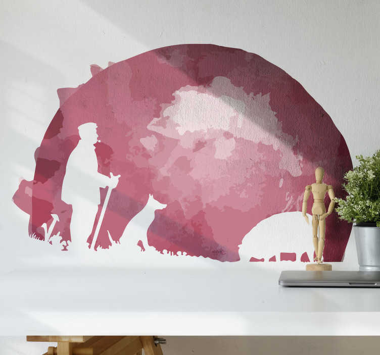 TenStickers. Goat Peter silhouette wall sticker. Buy our farm animal wall sticker silhouette with the design of a shepherd with flocks by the mountain. Easy to apply on any flat surface.