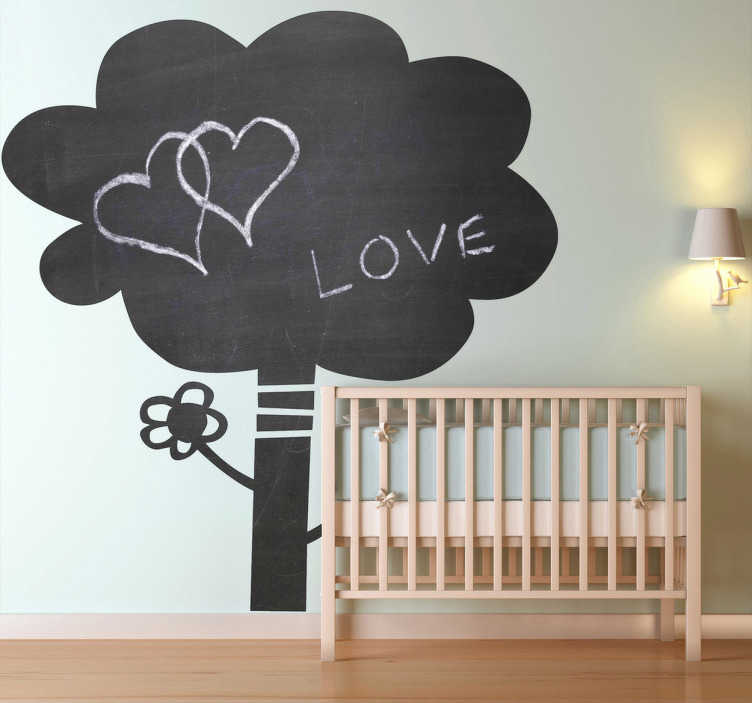 TenVinilo. Vinilo pizarra árbol. Adhesivo decorativo de pizarra con la silueta de un árbol de aire infantil para que tú y tus hijos pintéis las paredes de casa sin miedo.