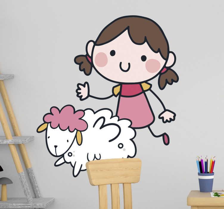 TenStickers. Heidi Schaf Wandtattoo. Dekorativer und einfach anzubringender wandaufkleber für kinderzimmer, entworfen mit der märchenhaften fiktion von heide. Wählen sie die gewünschte größe.
