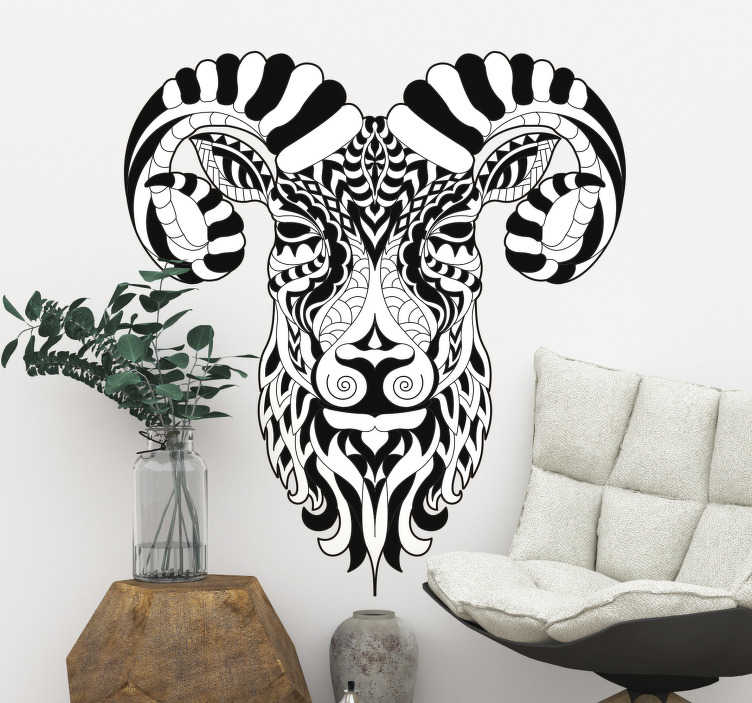 TenStickers. Ibex wild animal sticker. Easy to apply decorative wall decal of a wild ibex animal. The design can be in any mono colour and size of your preference.