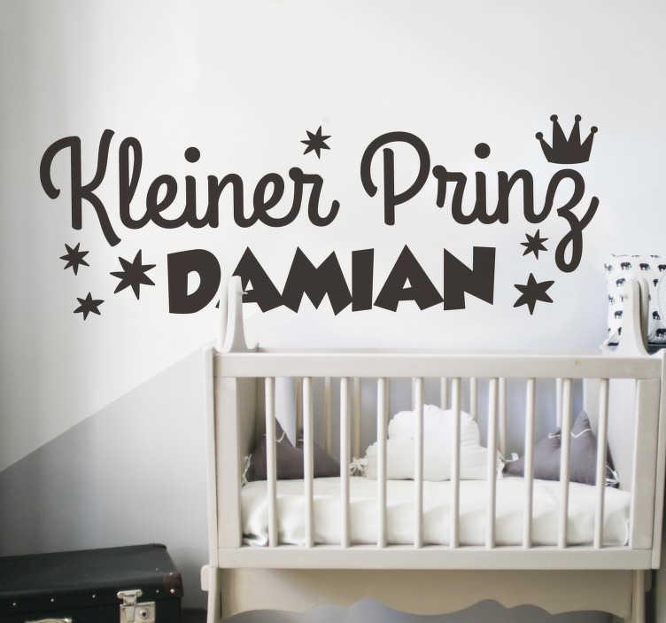 TenStickers. Kleiner Prinz mit Namen Aufkleber. Wandtattoo Kinderzimmer design eines kleinen prinzen märchen mit einem personalisierbaren namen darauf. Wählte es in einer bevorzugten farbe und größe option.