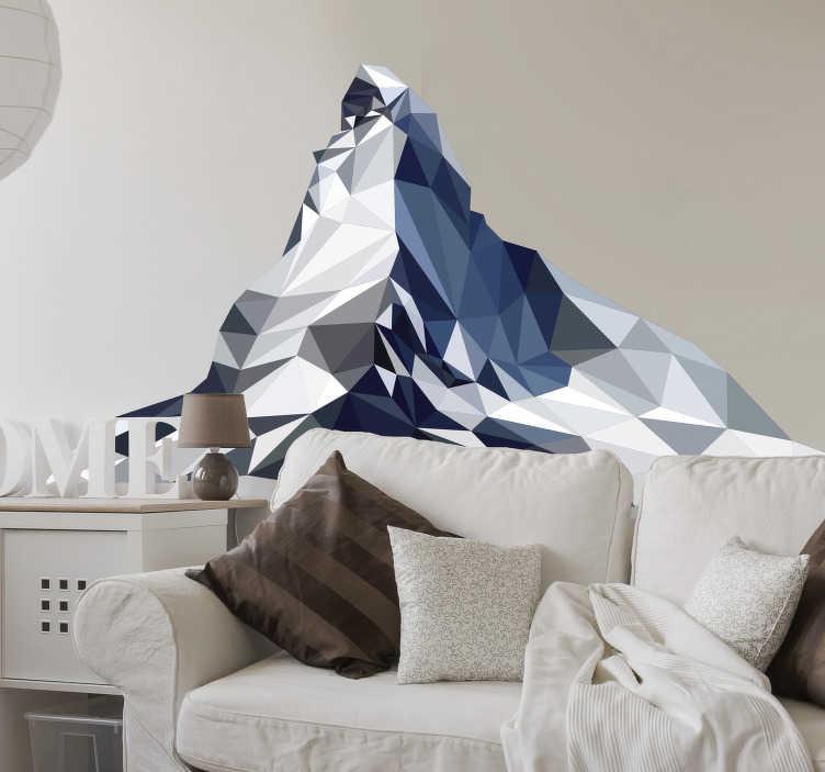 TenStickers. Matterhorn 3d Wandtattoo. Aufkleber eines matterhorn-stadtberges in geometrischem glasmuster in wunderschöner farbgebung, um jede flache oberfläche zu dekorieren.