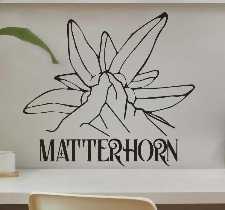 TenStickers. stickers muraux mathorn-edelweiss. autocollant d'art mural facile à appliquer de matterhorn-edelweiss dans le style de croquis de dessin. Le design est disponible en différentes couleurs et tailles.