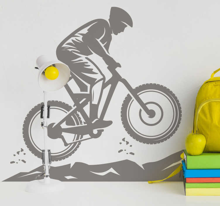 TenStickers. Bergfietser zelfklevende muursticker. Een silhouetontwerp van een spits van een mountainbiker-muur om het muuroppervlak in het huis te versieren. Het ontwerp is verkrijgbaar in verschillende monokleuren.