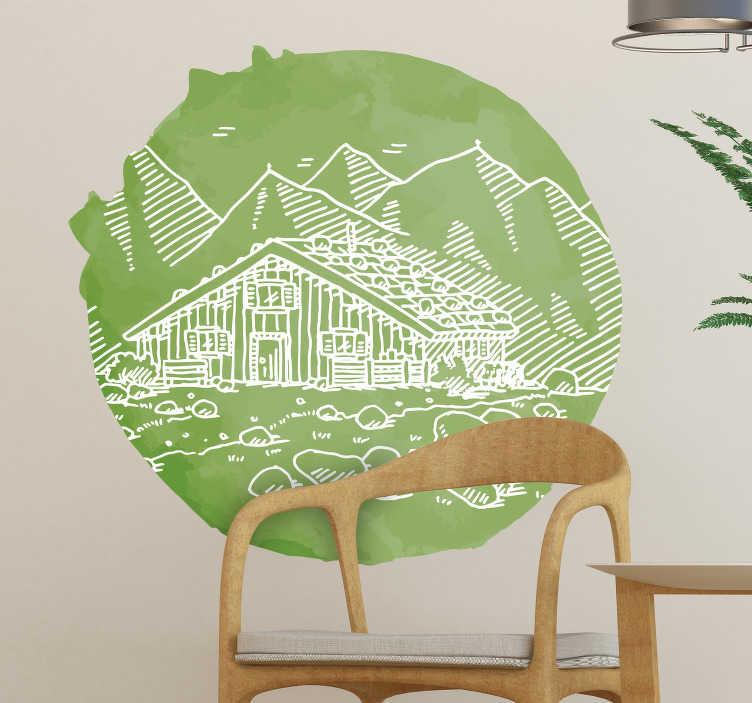 TenStickers. adhesifmurale cabane alpine en papier découpé. Belle conception d'stickers muraux ville et pays sur un fond rond de forme circulaire avec une apparence multicolore mettant en vedette la montagne et la maison.
