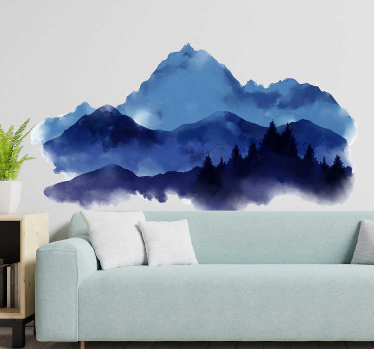 TenStickers. Paper cut mountains nature wall decal. Nature themed wall sticker design of a paper cut mountain in deep multi colour .Beautiful ideal design for any flat wall surface.
