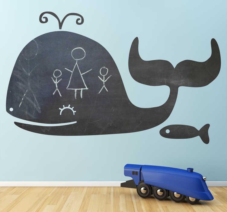 TenStickers. Adesivo decorativo lavagna balena. Sticker decorativo che raffigura la silhouette di una balena con un piccolo pesce al seguito