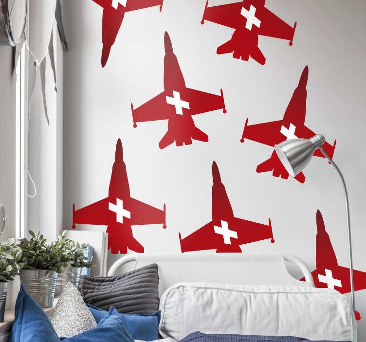 TenStickers. Schweizer patrouille flagge sticker. Einfach aufzutragen home wandtattoo mit einer patrouille erstellt für die schweiz in es flag darstellung farbe bekommen. Einfach auf ebener fläche aufzutragen.