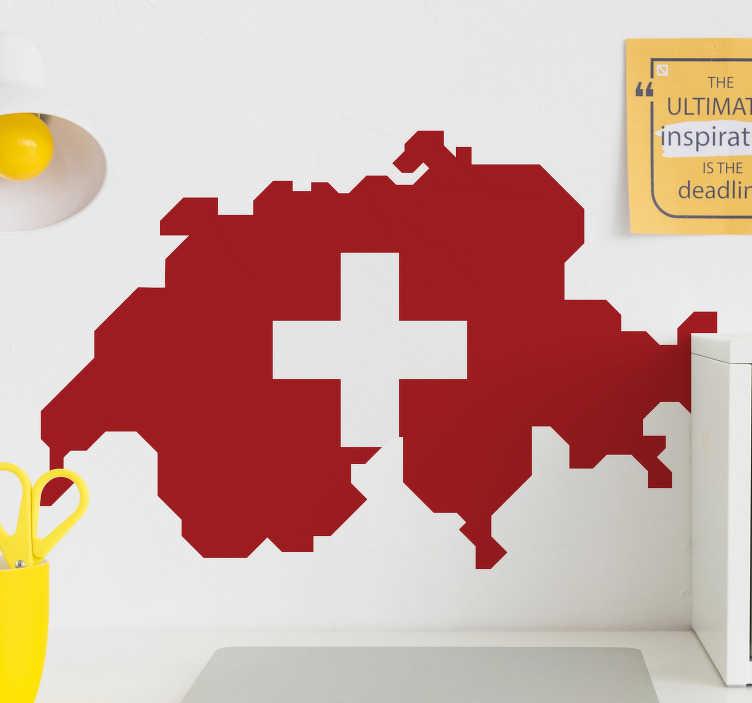TenStickers. Schweizer karte flagge wandtattoo. Aufkleberieren sie die wandoberfläche im haus mit diesem wandkunst-aufkleber der landkartenflagge der schweiz, der in der schönen farbe entworfen wird.
