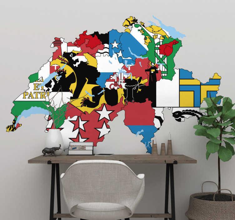 TenStickers. Schweiz karte mit regionen Wandtattoo. Aufkleberieren sie jeden flachen wandbereich mit unserem kartenwandaufkleber-design im schönen mehrfarbigen hintergrundflaggenstil. Einfach anzuwenden