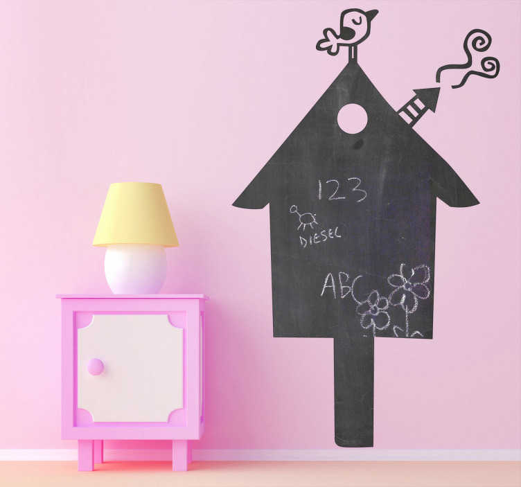 TenStickers. A Blackboard House Sticker. Creative and original kids sticker of a bird house but also a blackboard. Brilliant decal to decorate your kids room!