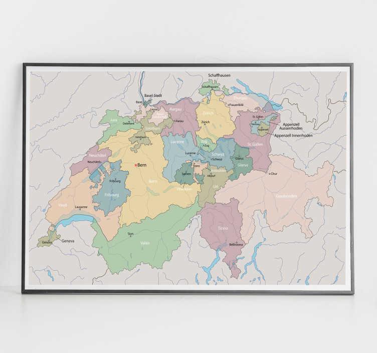 TenStickers. Schweiz karte mit regionen wandtattoo. Wandtattoo der landkarte mit regionen und standorten der schweiz. Ideales design für jeden raum im haus. In verschiedenen größen erhältlich.