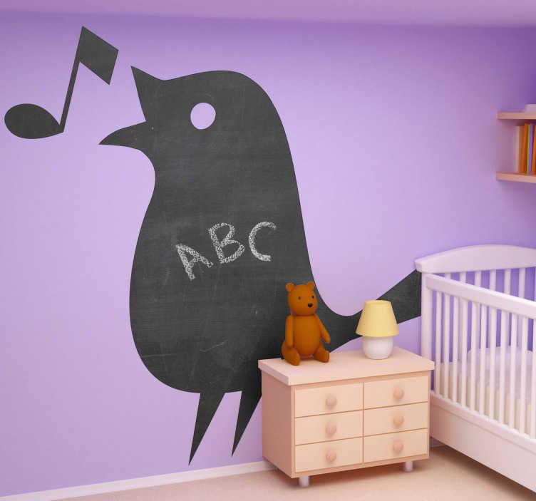 TenStickers. Naklejka tablica śpiewający ptak. Tablica kredowa w wygodnej formie naklejki, przedstawiającej śpiewającego ptaka z nutką. Możesz pisać i malować po tablicy ile tylko chcesz!