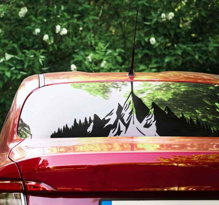 TenStickers. Berge Silhouette Autoaufkleber. Aufkleberativer auto-vinyl-aufkleber eines berges im silhouette-stil. Erhältlich in verschiedenen farben und größen und kann auf jeder ebenen fläche aufgetragen werden.