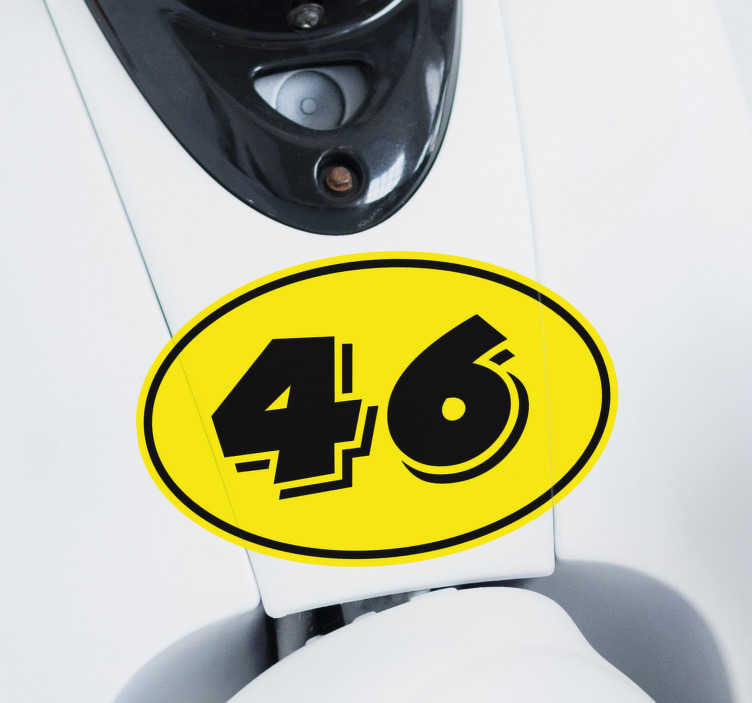 TenStickers. Yellow motorcycle  Motorcycle stickers. Easy to apply decorative motorcycle vinyl decal on yellow background with the number 46 on it.. It is suitable for any flat surface.