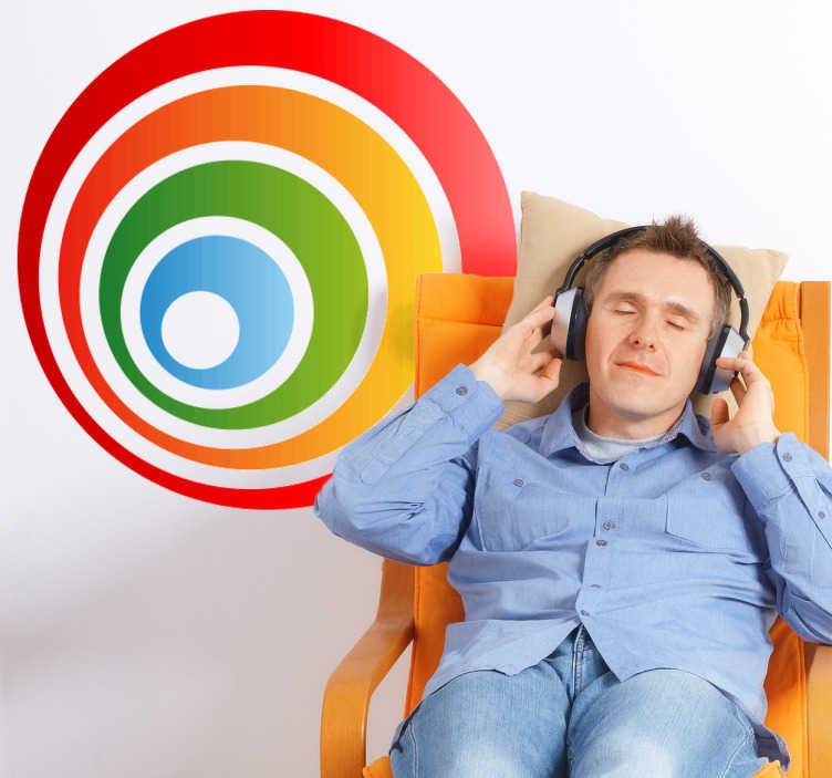 TenStickers. Sticker decorativo cerchi concentrici. Adesivo murale con una serie di cerchi colorati racchiusi uno dentro l'altro. Una decorazione originale per il soggiorno o la camera da letto.