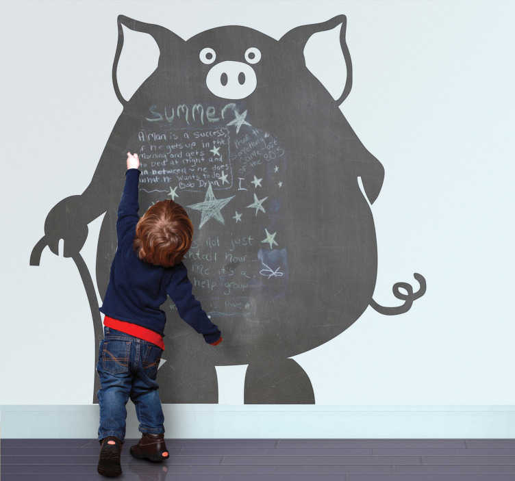 TenStickers. Pig Chalkboard Wall Sticker. Creative and original kids sticker of a pig but also a blackboard. Brilliant decal to decorate your home!