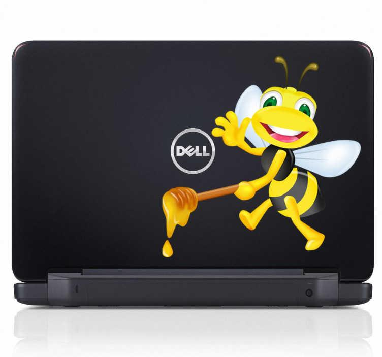TenStickers. Sticker ordinateur portable abeille. Une souriante et sympathique abeille portant un bâton de miel pour personnaliser avec originalité votre ordinateur portable.