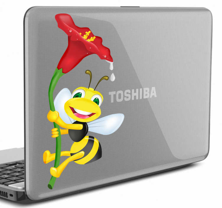 TenVinilo. Adhesivo para portátil abeja con flor. Vinilo para ordenador portátil de una encantadora avispa volando mientras lleva alegremente una flor para succionar el polen.
