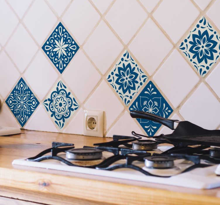 TenStickers. Pantone classic blue hydraulic tiles sticker. Buy our decorative vinyl tile waterproof sticker in classic blue to apply on the wall surface of the kitchen or any space of your desire in the home.