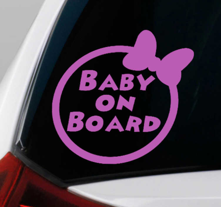 TenStickers. Baby Minnie on Board baby in car decal. Decorative baby on board sticker designed on a round surface with a baby hair ribbon by it side. It is available i different colour option.