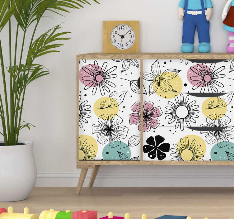 TenStickers. Blooming Flowers Furniture  decal. Easy to apply furniture decal with the design of ornamental flowers. You can enjoy the design in the side that fit your space.