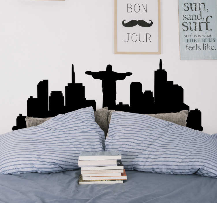 TenStickers. Brazil Skyline city silhouette wall sticker. Buy our decorative city silhouette wall decal of Brazil designed  with the the significant features of the city. Easy to apply.