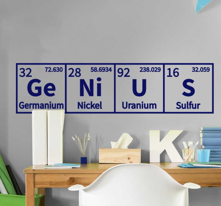 TenStickers. Muurtattoo van de chemische geniale wetenschap. Decoratief en gemakkelijk aan te brengen science genius zelfklevende muursticker met het ontwerp van enkele elementen in het periodiek systeem. Verkrijgbaar in verschillende kleuren.