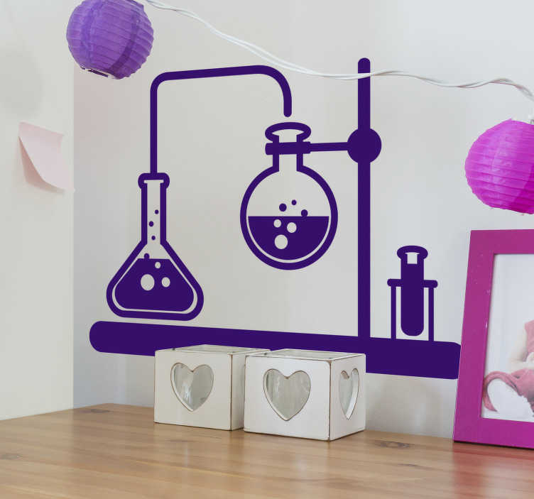 TenStickers. 화학 과학 과학 벽 데칼. 평평한 표면을 장식하는 화학 디자인을위한 실험실 과학 장치의 독창적이고 아름다운 벽 데칼. 다른 색상으로 제공됩니다.