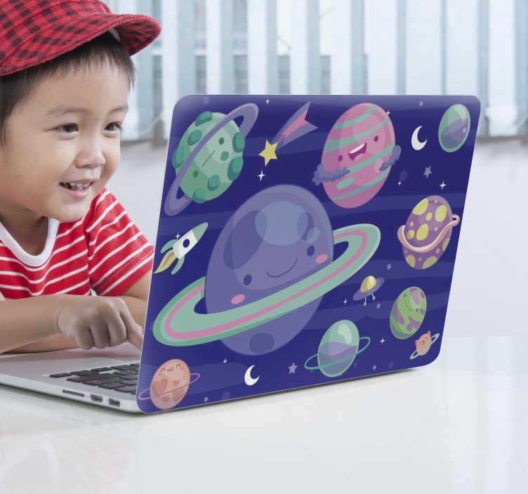 TenStickers. 多彩的星体笔记本电脑皮肤. 装饰性笔记本电脑包裹的乙烯基皮肤设计具有星形空间,以美丽的色彩呈现出太空中的轨道。提供尺寸选项。