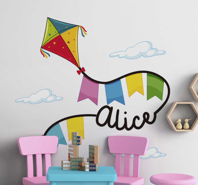 TenStickers. Kite and Clouds with Name illustration sticker. Customisable name wall sticker designed with kites and cloud. An ideal design for kids room space and you can chose the size you prefer.