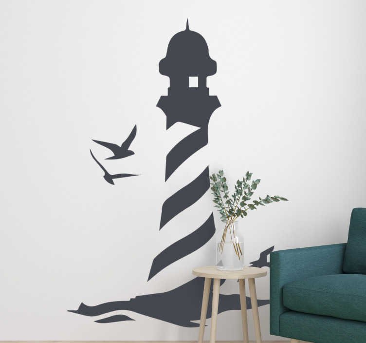 TenStickers. Lighthouse on the Sea  nautical sticker. Decorative nautical design of a light house wall decal to beautify the home wall space. High quality vinyl with easy application.