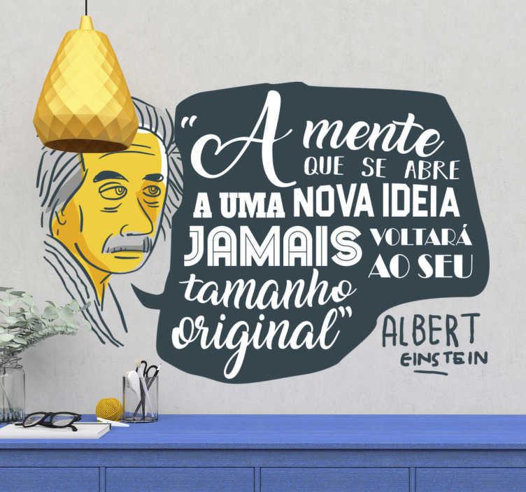 TenStickers. Vinil autocolante frases célebres Mente Aberta. vinil autocolante decorativo de frases célebres de uma famosa citação de Albert Einstein ideal para decorar a sua casa ou empresa de forma original.