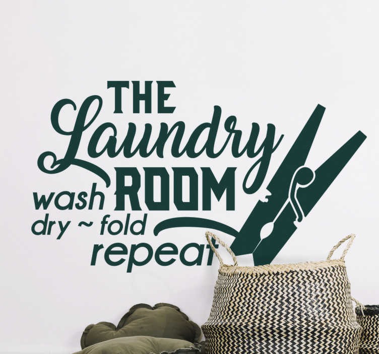 TenStickers. The laundry Room wall  home text wall decal. Decorate the laundry space with this wall vinyl decal for laundry with text '' the laundry room, wash , dry and repeat''.
