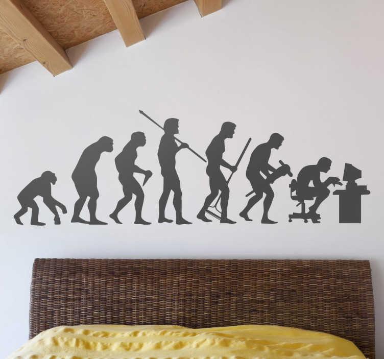 TenStickers. Sticker Evolutie van de mens. Humoristische muursticker die de evolutie van de mens op een grappige manier illustreert. Kleur en formaat aanpasbaar. Eenvoudig aan te brengen.