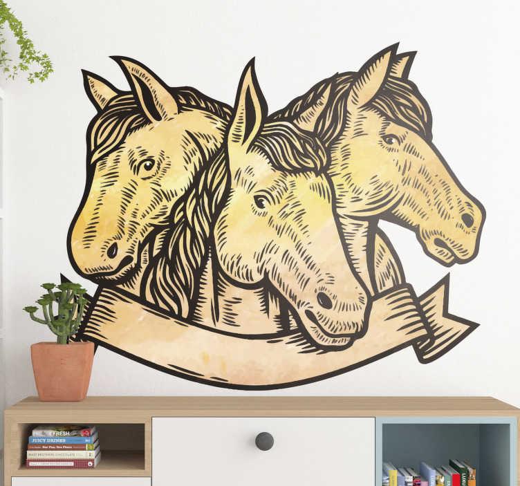 TenVinilo. Vinilo para pared 3 caras de caballos. Diseño de vinilo de 3 caras de caballo en una apariencia hermosa para decorar el espacio de la pared en el hogar. Fácil de aplicar a cualquier superficie plana.