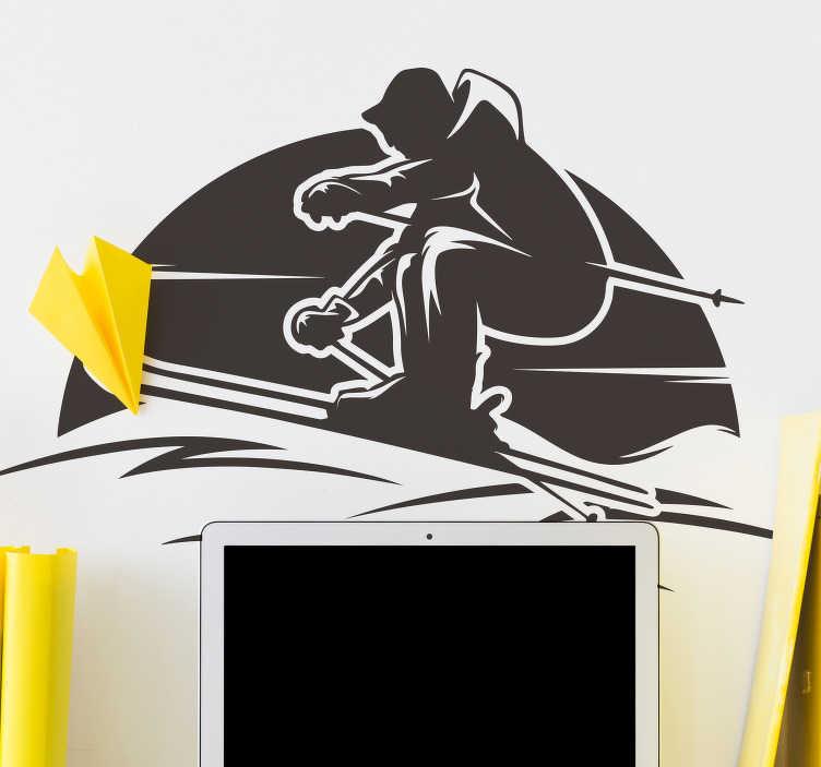 TenVinilo. Vinilo decorativo deporte esquiador en Alpes. Un vinilo pared de silueta deportiva de un esquiador de los alpes disponible en diferentes colores y tamaños. Fácil de colocar.