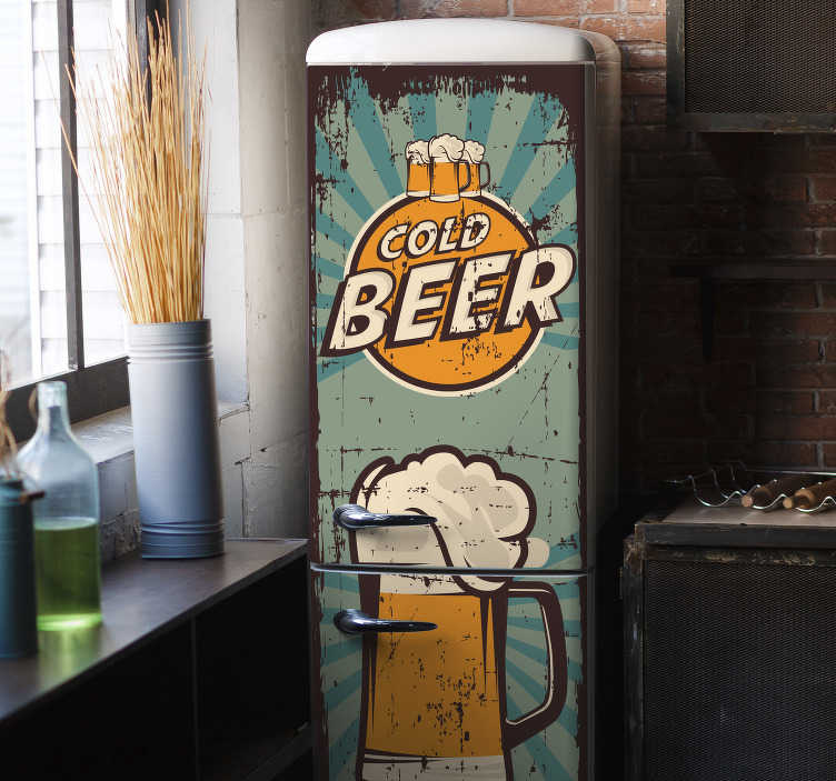 TenStickers. Beer mugs fridge wrap. Decorative fridge wrap vinyl decal designed with beer mug.  A colorful and beautiful design for fridge space in the kitchen