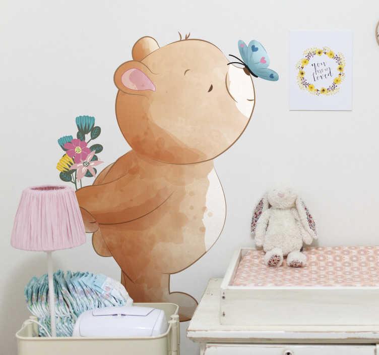 TenVinilo. Vinilo para bebé oso adorable con mariposa. Compre nuestro diseño decorativo de vinilo pared infantil de oso y mariposas en él. Hermosa idea para la habitación de los niños.