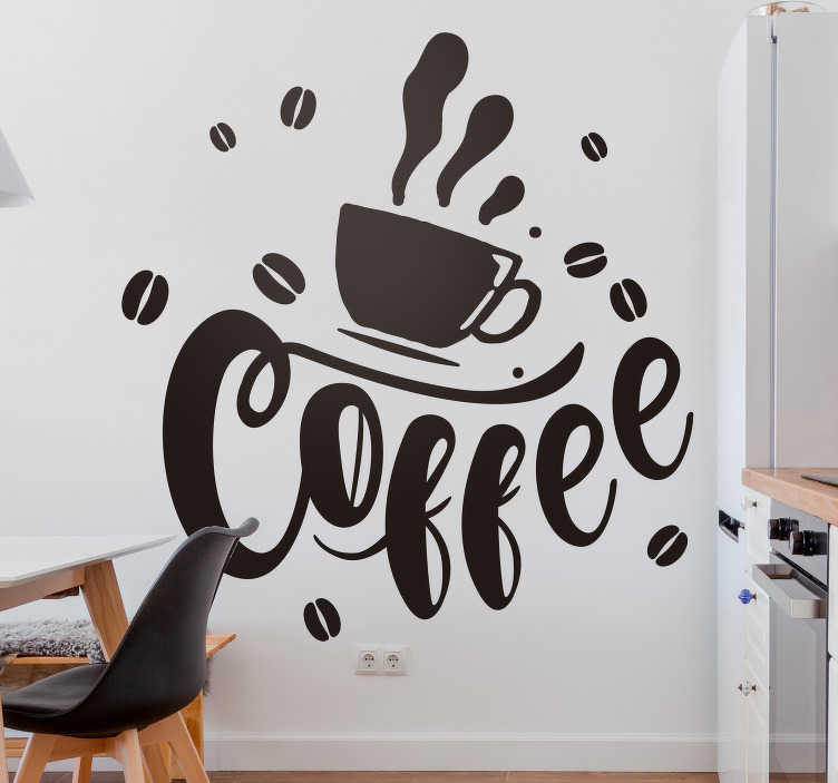 TenVinilo. Vinilo decorativo taza café frase coffee. Diseño decorativo de vinilo pared de cocina creado con un tema de café. El diseño es de una bebida de taza de café con texto en él. Disponible en diferentes colores.