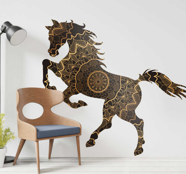 TenStickers. Mandala style horse farm animal sticker. Home wall decal design of a horse created in a mandala patterned style and it is suitable for any wall space in the home. Easy to apply .