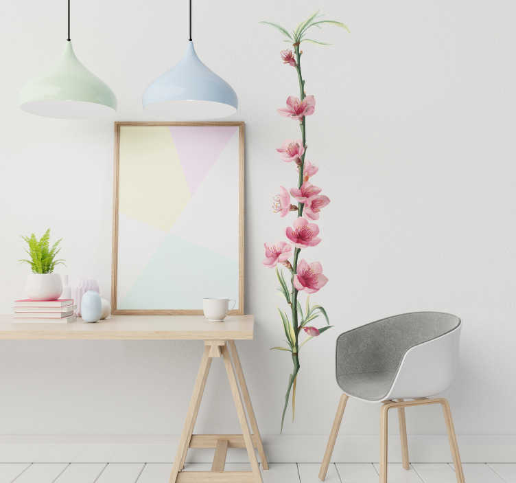 TenStickers. Peach flower branch flower wall decal. Decorative wall decal of a flower peach plant created in beautiful color and amazing ideal for any wall and flat surface.