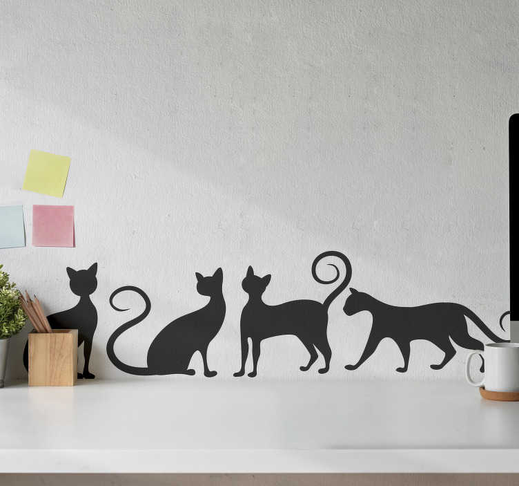 TenStickers. Playing cats wall decor. Buy our kid wall sticker of cat playing . The design is a silhouette style and you can option to buy it in the colour of your choice.