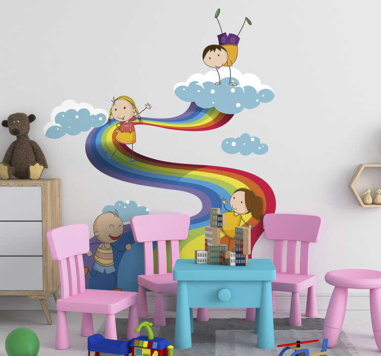 TenStickers. Rainbow landscape for kids illustration wall art. Decorative wall sticker of a rainbow landscape with the appearance of cloud with children playing to beautify the space for kid.