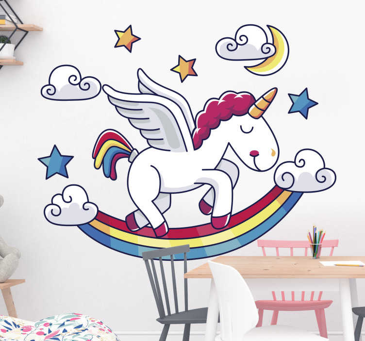 TenStickers. Rainbow with unicorn fantasy decal. Children wall decal design of fairy fantasy that features a unicorn, cloud and stars on it. An ideal design for kid and infant space.